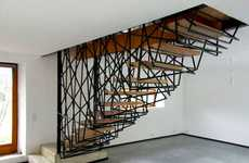 Tangled Steel Stairways - Rochebaudin by Archiplein Incorporates a Chaotic Staircase