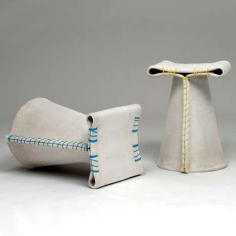 Faux Fabric Stools - Stitching Concrete is Designed to Be Deceptively Indestructible