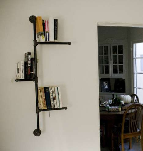 Industrial Pipeline Bookcases - The Eclectic Interiors Pipe Shelves are Stylishly Gritty