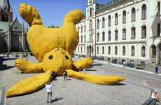 Giant Bunny Sculptures - Florentijn Hofman's Big Yellow Rabbit Looks Like a Huge Plush Toy