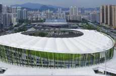 Bamboo Soccer Stadiums - Bao'an Stadium is a Forested Sporting Facility
