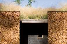 Grass-Roofed Houses - The Stone Creek Camp Home Uses Firewood for Walls