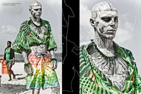 The FFW Parrot Tropical Spread Features Rick Genest in Eccentric Fashions