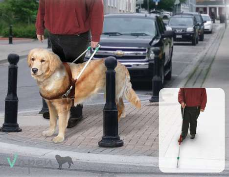 Multifunctional Guide Dog Gear - The Vapen Guide Dog Harness Doubles as a Cane