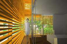 Orange Peel Eco Abodes - Aguas De Marco Uses a System of Adjustable Orange Shades to Heat/Cool