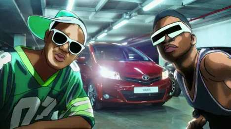 Partially Animated Car Commercials - New Toyota Yaris Ads are Inspired by Pop & Rap Videos