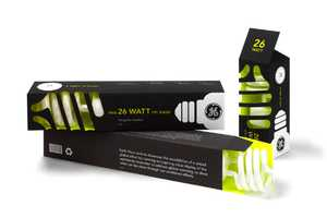 GE CFL Lightbulb Packaging Encourages Energy Conservation