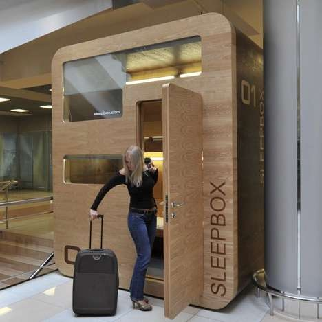 Temporary Transit Motels (UPDATE) - The SleepBox Debuts in International Airports Around the Globe
