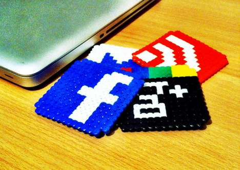 Social Network Mug Mats - Keep Tables Ring-Free with the Retro Pixel Social Media Icon Coasters