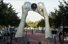 Mysterious Sculpture Stunts - 'The Big Hands' by Nikon is a Ground-Breaking Camera Campa