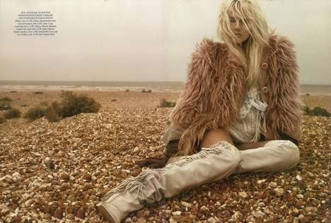 Shaggy Nomadic Editorials - The Harper's Bazaar UK Issue Wraps Up in Woolly Warmth