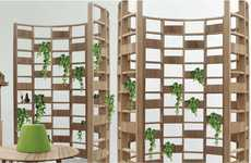 Arced Garden Partitions - The Deesawat Green Wall Provides Privacy with the Growth of Plants