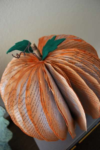 Recycled Book Pumpkin Decorations