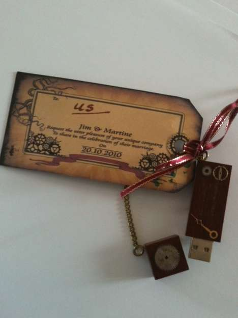 Steampunk USB Wedding Invitation