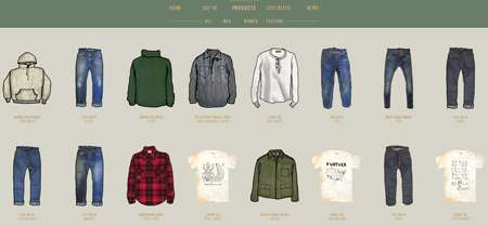Sketches-Only Virtual Boutiques - Levi's Vintage Clothing Site Pays Tribute to the Brand's Heritage