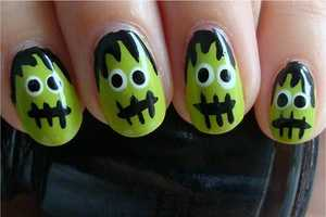 The Frankenstein's Monster Nails Tutorial is Cute and Quirky