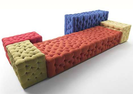 Quirky Quilted Furniture - Meritalia's La Michetta Sofa is Magnificently Modern and Modular