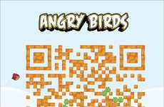 Avian-Infused Barcode Designs - The 'Stupid' QR iPhone App Ads are a Graphic Piece of Art