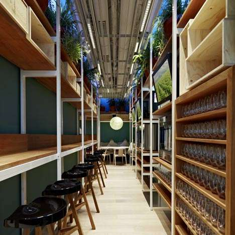 Warehouse-Style Eco Eateries - Elements of Fastvinic Cafe by Alfons Tost are Designed to Be Recycled