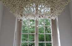 Flower Ceiling Installations - The 2000 Suspended Dandelions Project Features Amazing Artistry