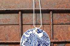 Plunging Porcelain Necklaces - The Vintage Recycled Jewelry by Indigo and Oscar is Awesome