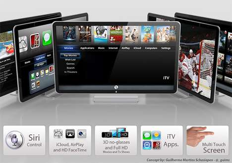 Voice-Controlled Touchscreen TVs - Guilherme M. Schasiepen's Envisions the Apple iTV