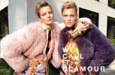 Rainbow-Hued Fur Features - Constance Jablonksi and Eniko Mihalik for Vogue Japan December 2011