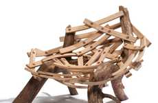 Piled Twig Furniture - The Studio Floris Wubben Eyrie Chair Emulates A Bird's Nest