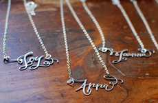 Dainty Calligraphy Necklaces - Crystal Kluge Creates Personally Designed and Delicate Jewelry