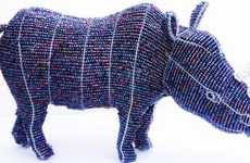 Charitable Animal Sculptures  - The Bundu Designs Rhinos are Made from Wire