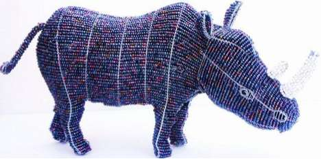 bundu designs beaded rhino sculptures