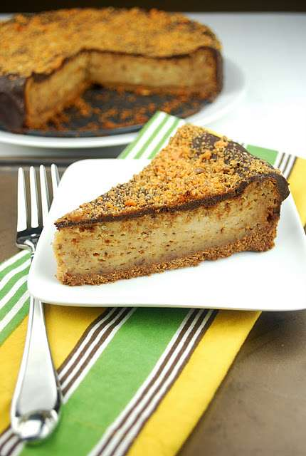 Chocolate Covered Butterfinger Cheesecake