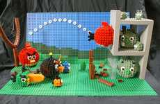 Raging Building Block Avians - The LEGO Angry Birds Display is Located at a Texan Mall