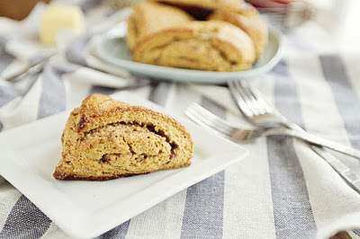Pumpkin Cinnamon Roll Scones