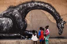 Giantized Graffiti Animals - Artist Roa in Gambia Creates Charitable Street Art