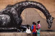 Giantized Graffiti Animals - Artist Roa in Gambia Creates Charitable Street Art