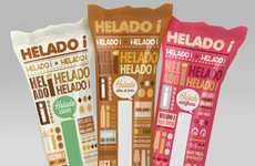Delectable Text-Wrapped Branding - Helado i Ice Cream Packaging Appeals to a Variety of Tastes
