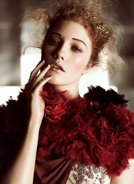Indulgent Regal Editorials - Emily Fox, Dani and Finlay Moore in Flare December 2011 is Incredible