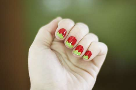 DIY Strawberry Nails by The Dainty Squid
