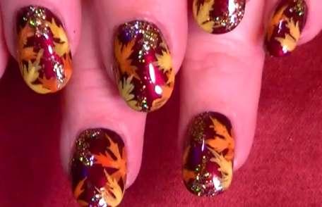 Festive Fallen Leaf Manicures