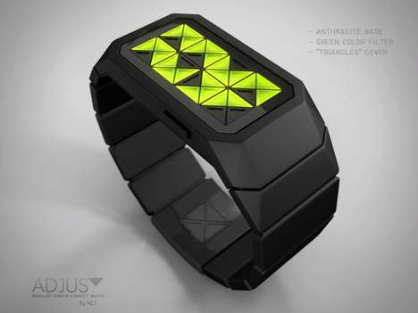 Isosceles Time Trackers - The Adjust Concept Watch Tells Time Using LED Triangles