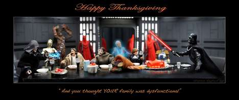 Sci-Fi Festive Dinners - These Death Star Thanksgiving Photographs are Dysfunctional