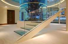 Cantilevered Transparent Staircases - The Aquarium Gleneagles Glass Stairs is a Spectacular Sight