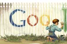 Literary Search Engine Logos - The Mark Twain Birthday Doodle has Tom Sawyer Painting Google