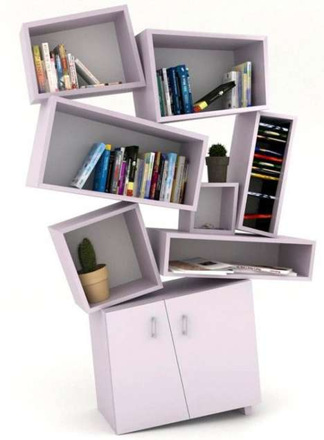 Earthquake-Inspired Shelving - Tembolat Gugkeav's Tectonic Bookcase is Precariously Balanced