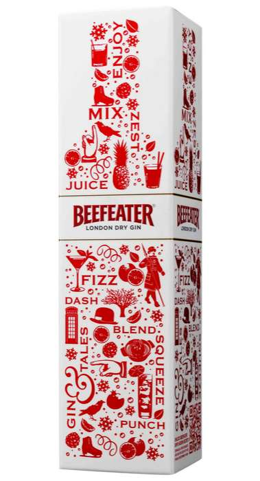Festive Gin Branding - Beefeater London Dry Carton Gets Jolly with Red and White Colors