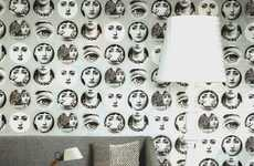 Eerie Facial Wallpaper - The Cole & Son Fornasetti Collection Makes a Bold Decor Statement