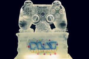The Playstation Ice Sculpture by Glacial Art Dazzles as a Chilling Piece
