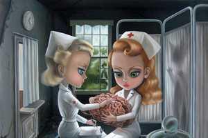 Xue Wang Depicts Horrific Hospital Scenarios with Cutesy Women
