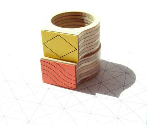 Birch Plywood Jewelry - The Bandada TANgRAM Collection is Colorful and Chunky